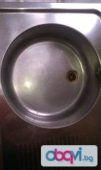 Българска Кухненска лява мивка с плот и борд, за монтаж върху шкаф, алпака