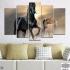 Декоративно пано за стена от 5 части с изображение на диви коне - HD-369