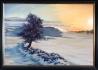 Маслена и акрилна картина зимен пейзаж къщи море морски масло акрил
