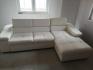 Бял кожен (еко кожа) диван с лежанка