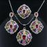 """Моден сребърен комплект скъпоценни камъни """"мулти-колор"""""""