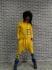 Летен спортен екип комплект от две части с дънкови джобчета от слънчево жълто памучно трико...