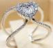 Изящен сребърен пръстен с диамант-сърчице