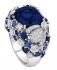Изящен сребърен пръстен със сапфири и диаманти