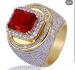 Моден мъжки пръстен златна сплав и скъпоценни камъни